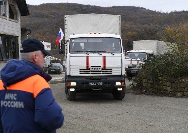 俄維和人員為納卡馬爾塔克爾特的200戶最需要家庭發放人道主義援助