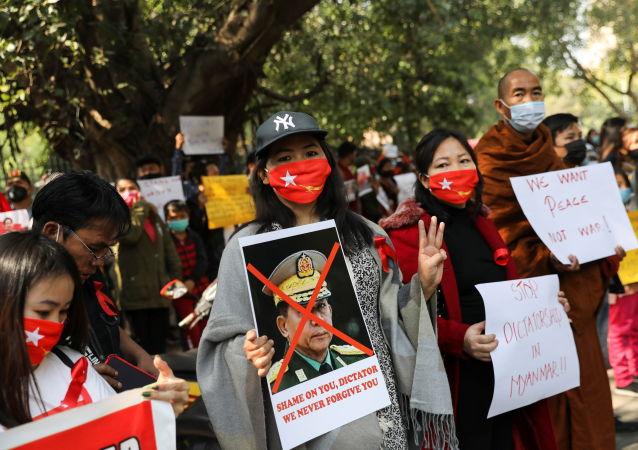 緬甸抗議者