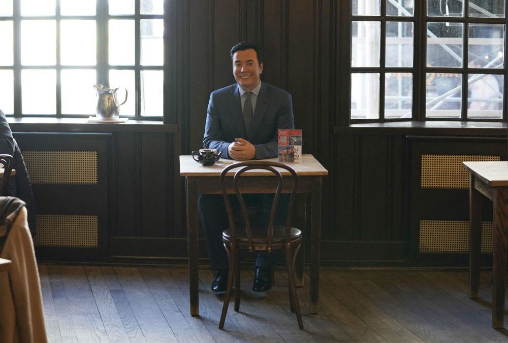 餐廳內設置的美國電視節目主持人吉米·法倫蠟像。