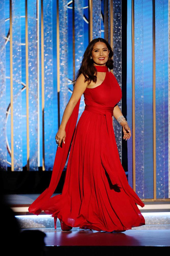 美國好萊塢女演員薩爾瑪·哈耶克參加金球獎頒獎典禮當天活動。