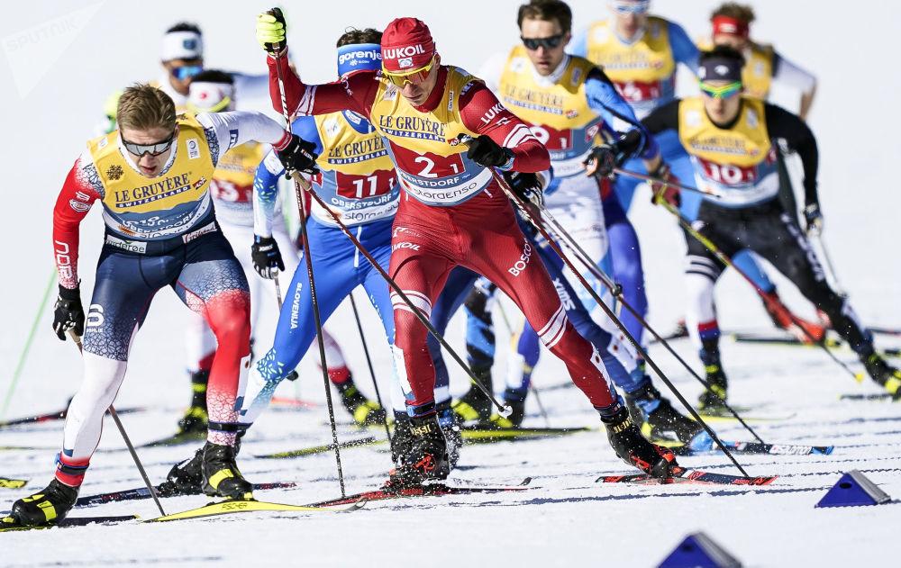 俄羅斯運動員博爾舒諾夫參加奧伯斯特多夫滑雪世錦賽。