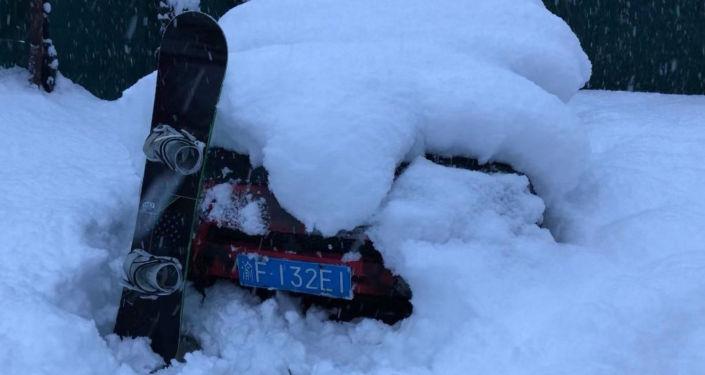 索契的冬天。雪好大,不得不雪中挖車
