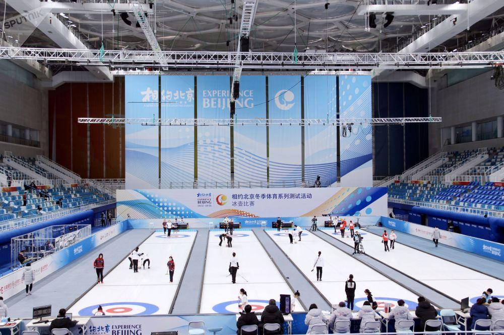 2022年北京冬奧會冰壺測試賽現場。