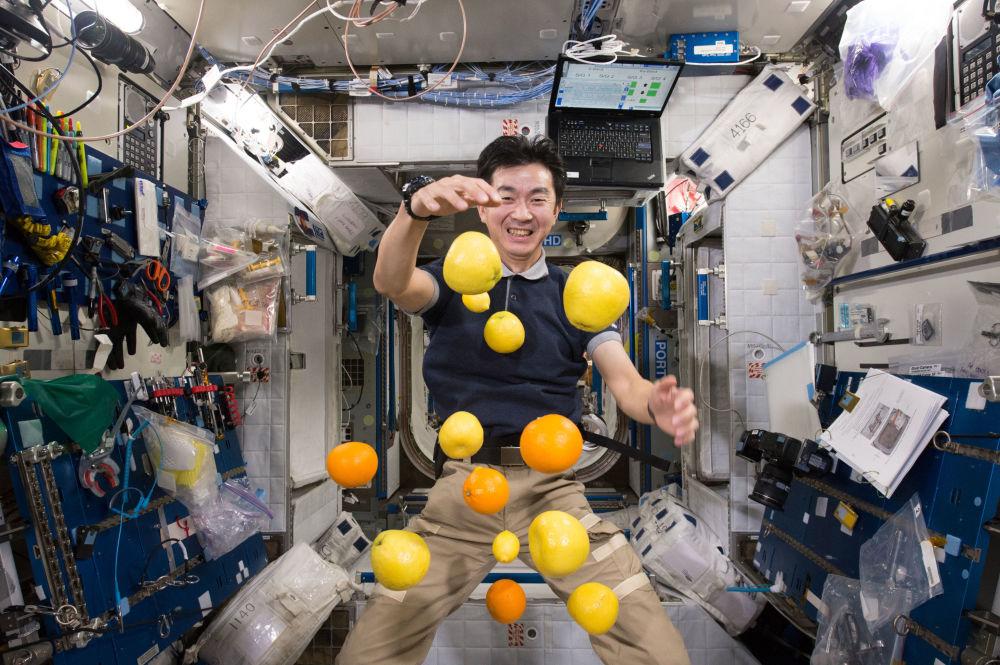 日本航天員油井龜美也在國際空間站內收集懸浮的水果。