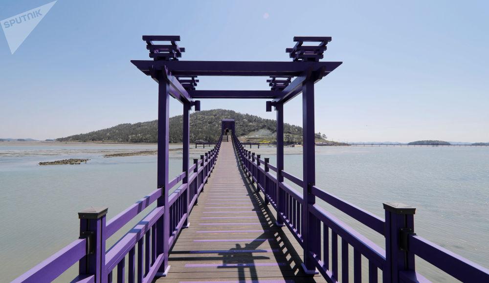 韓國全羅南道的紫色廊橋。