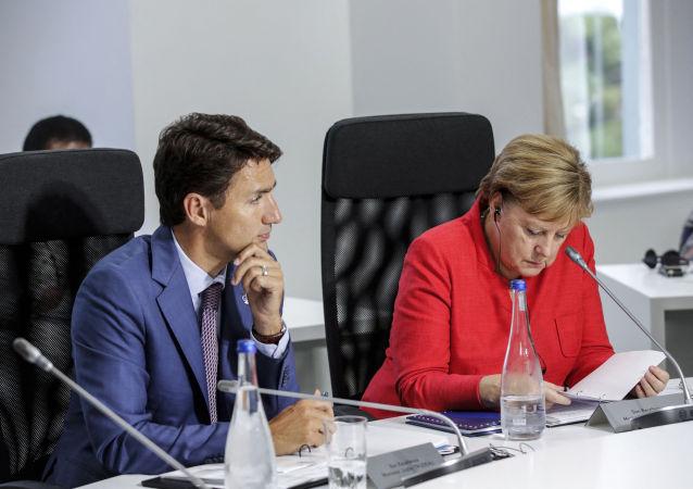 加拿大總理賈斯汀·特魯多和德國總理安格拉·默克爾