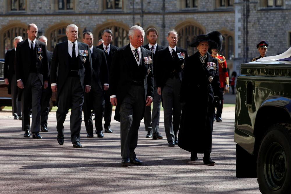 王室成員在已故菲利普親王的葬禮上。
