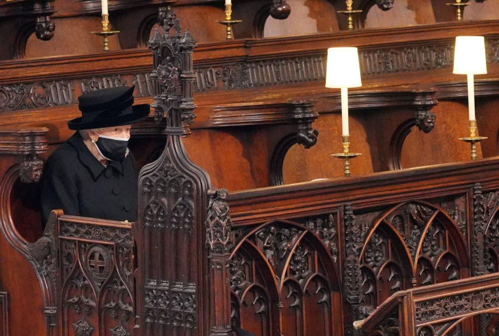 英國女王伊麗莎白二世在已故菲利普親王的葬禮上。