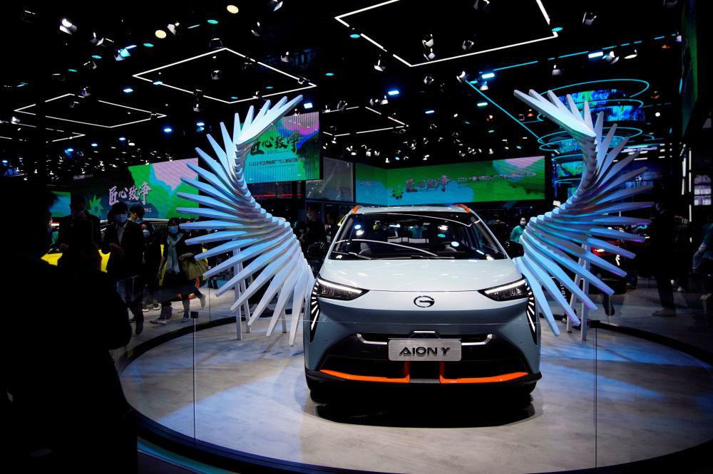 上海國際車展上的GAC Aion Y電動車。