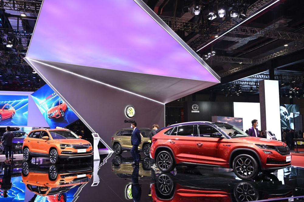 上海國際車展上的斯柯達汽車。