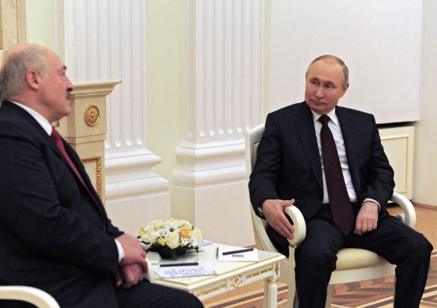 俄羅斯總統普京與白俄羅斯總統盧卡申科