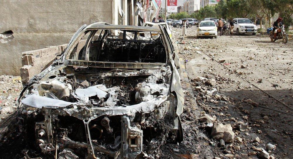聯盟空軍對也門進行空襲後的結果/資料圖片/