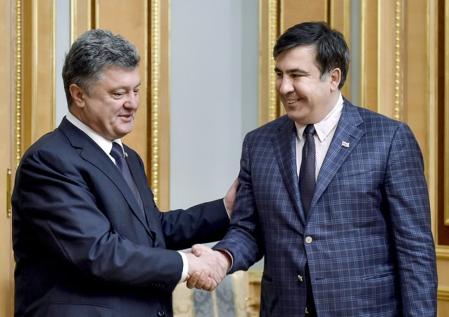 波羅申科與薩卡什維利進行會談/資料圖片/