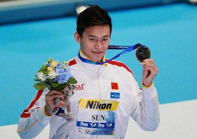 中國泳將孫楊摘得喀山世錦賽800米自由泳金牌