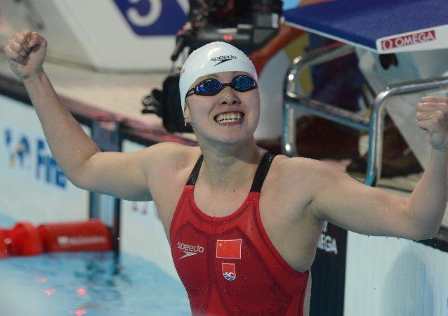傅園慧奪得喀山世錦賽女子50米仰泳金牌