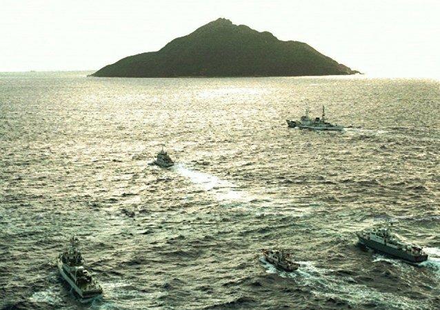 中國海警艦船編隊6月25日巡航釣魚島領海