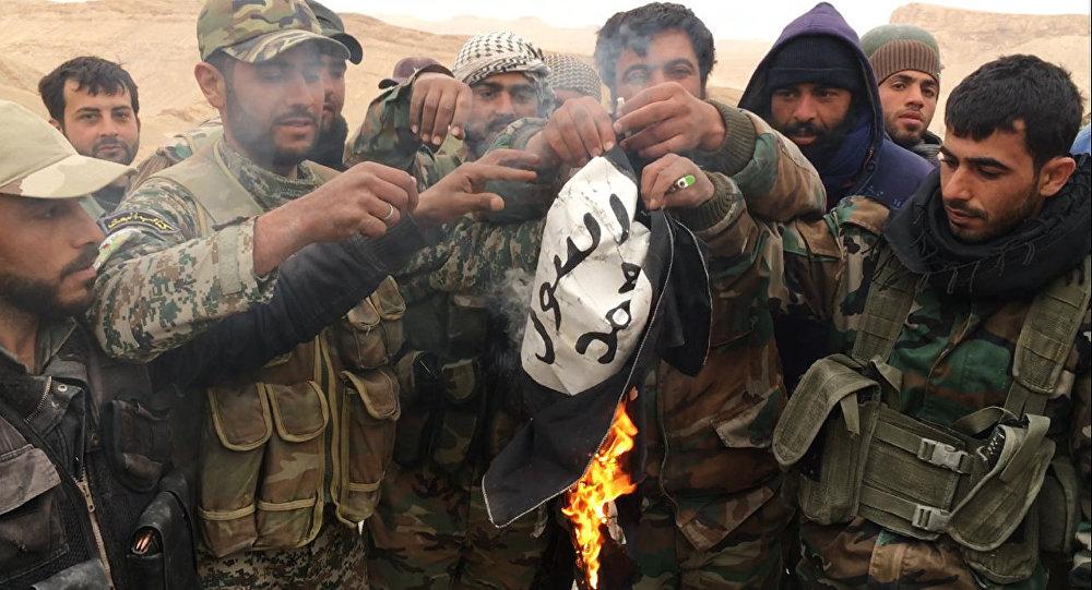 敘利亞政府軍摘掉巴爾米拉古城堡上的IS旗幟