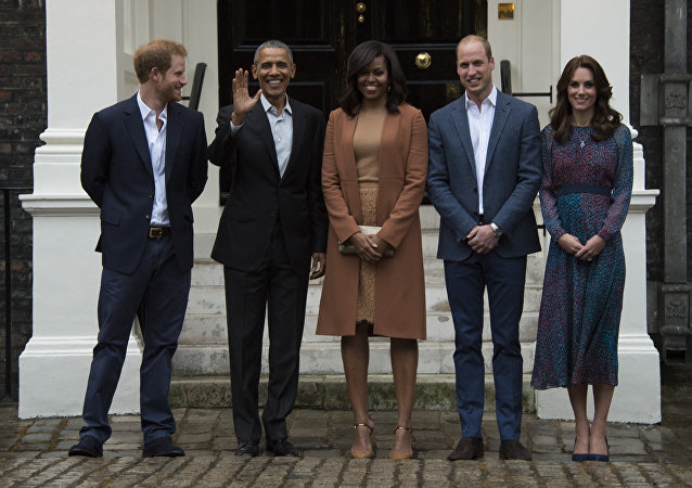 英哈里王子,貝拉克•奧巴馬、米歇爾•奧巴馬、威廉王子、凱特王妃/資料圖片/