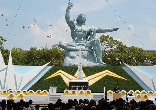 日本長崎為原子彈爆炸遇難者默哀一分鐘