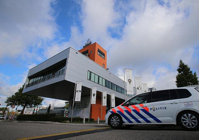 在荷蘭的會議中心,在那裡曾被遞交在烏克蘭墜毀的波音客機的相關報告