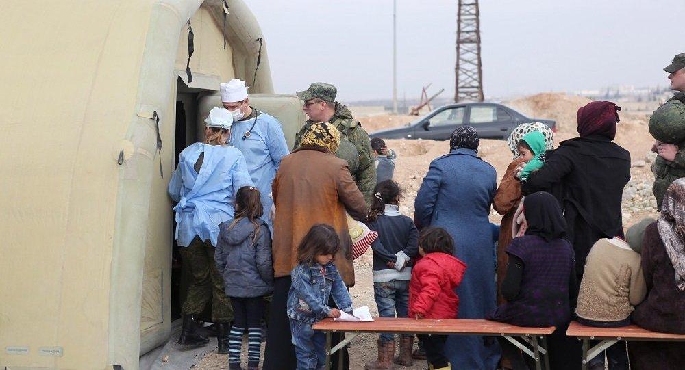 俄方一晝夜向敘平民轉交1.8噸人道物資