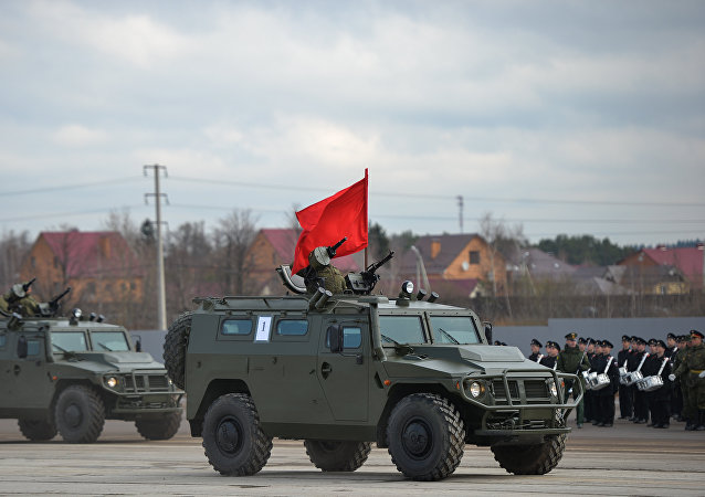 SBM VPK-233136 'Tiger' during the rehearsal of the military parade