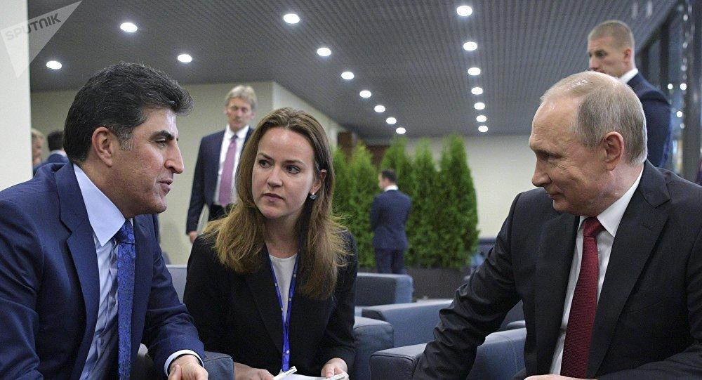 俄總統普京同伊拉克庫爾德自治區總理內奇爾萬·巴爾扎尼會談