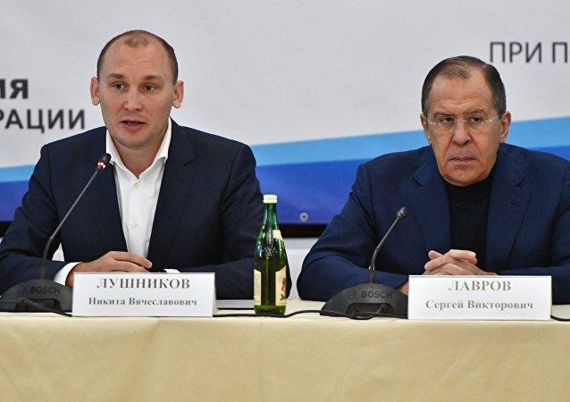 尼基塔•盧什尼科夫與俄羅斯外長拉夫羅夫