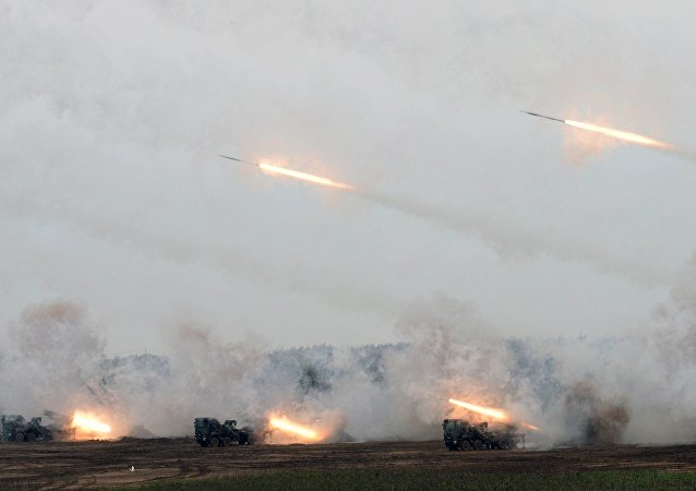 Rockets are launched from the multi-rocket launcher system