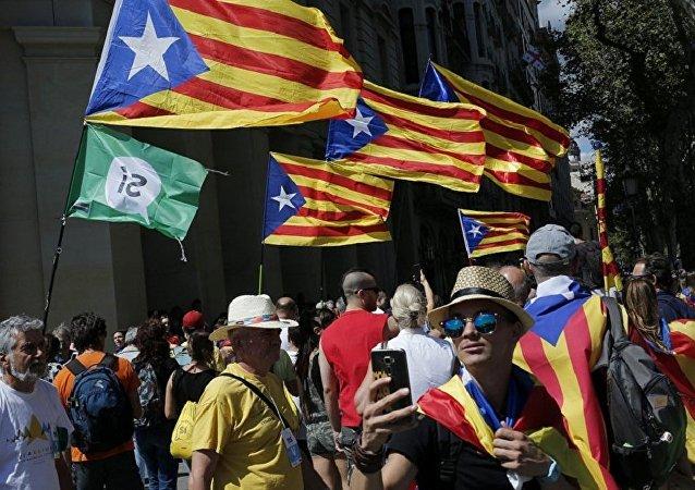 支持加泰羅尼亞獨立的抗議人群(資料圖片)