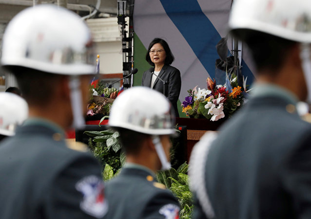 Taiwan President Tsai Ing-wen gives a speech during the National Day celebrations in Taipei