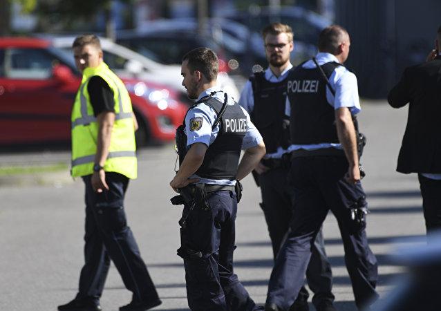 Policemen guard at Lake Constance, Germany