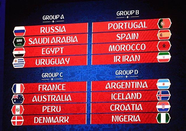 2018年俄羅斯世界杯分組抽籤揭曉
