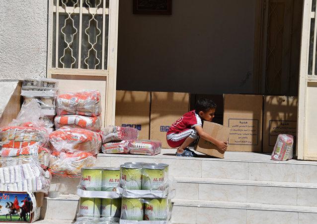 敘利亞北部數個人道主義援助發放點啓動