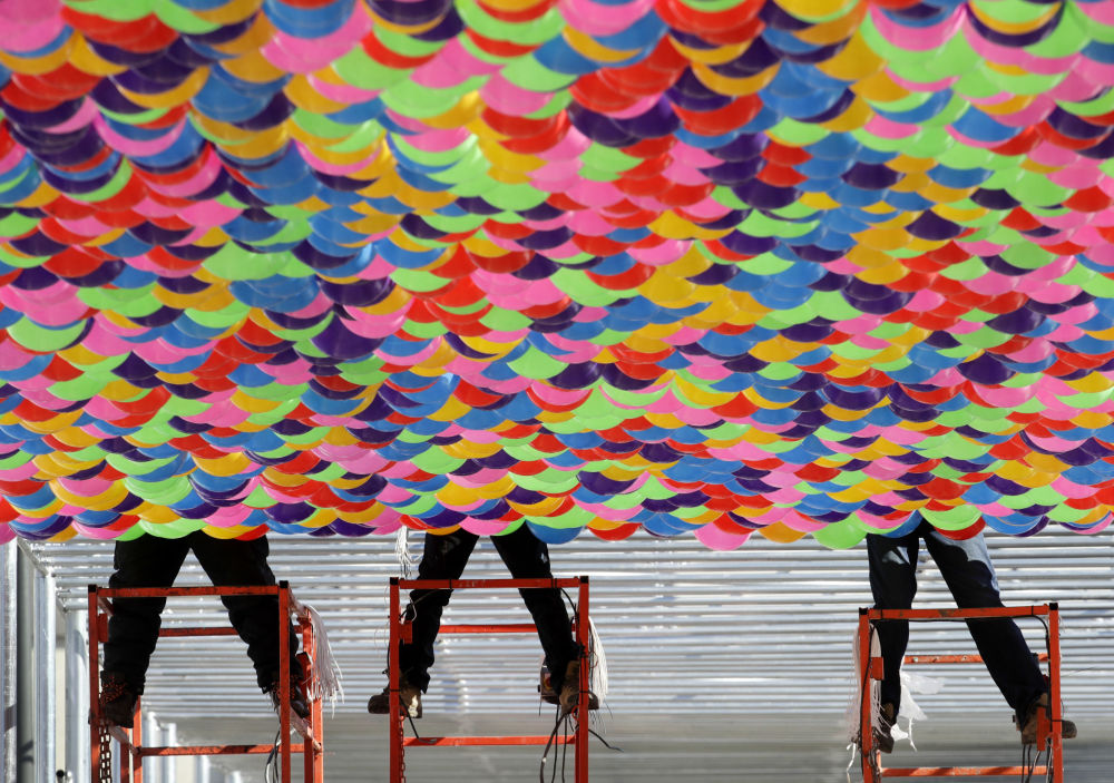 平昌奧林匹克廣場上的氣球