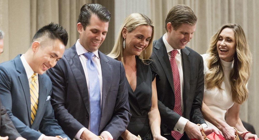 從左往右:美國總統特朗普之子小特朗普的妻子凡妮莎·特朗普