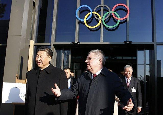 中國國家主席習近平和國際奧委會主席巴赫