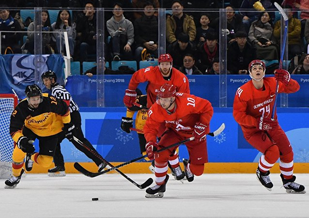 第23屆冬奧會男子冰球賽俄羅斯隊和德國隊決賽
