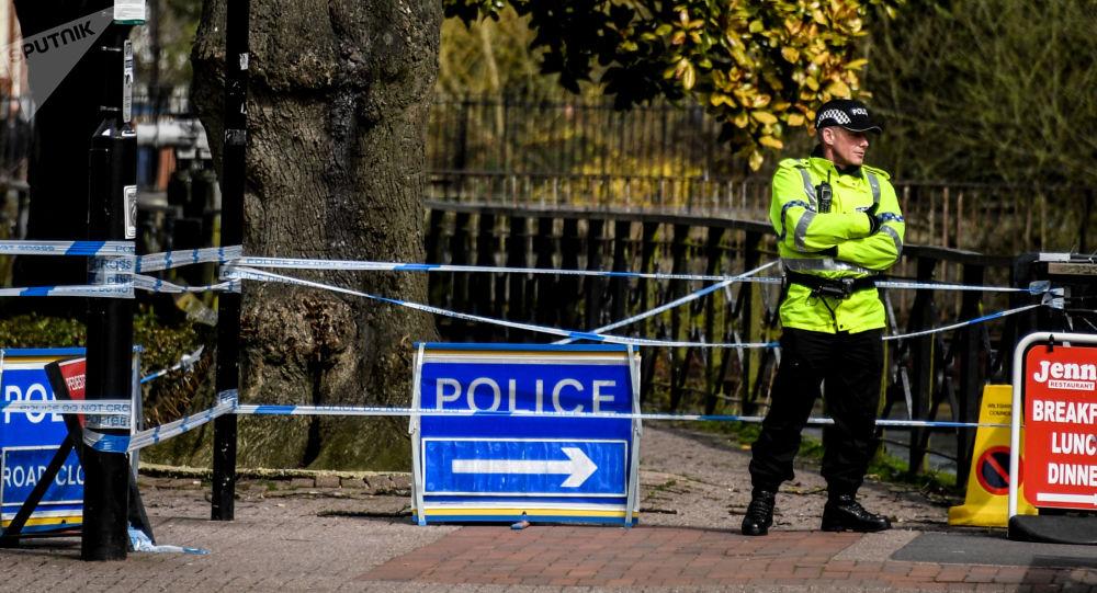 Ограждения, выставленные полицией города Солсбери, у входа в парк, где были отравлены Скрипали