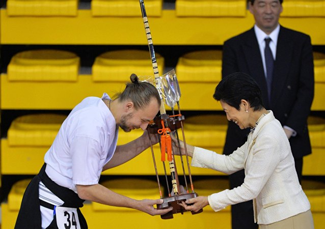 日本憲仁親王妃久子為葉卡捷琳堡弓道示範演出致開幕辭