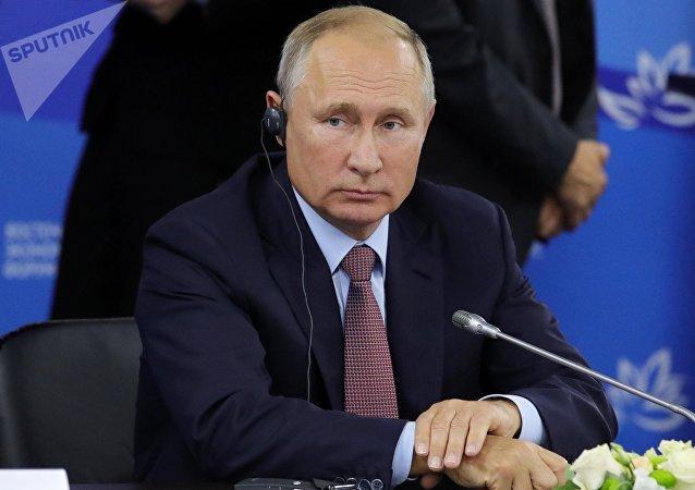 普京與來自不同國家的26名企業家舉行會晤