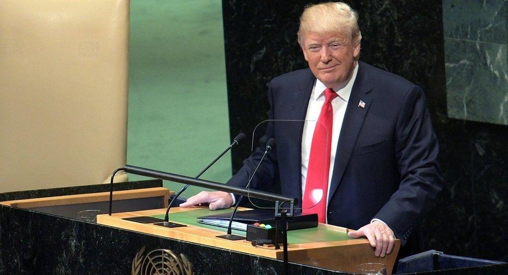 特朗普在聯合國大會上講話時