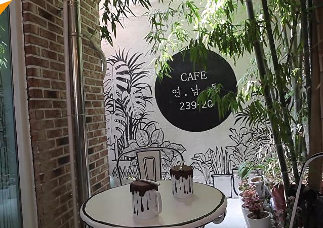 在首爾開設了一家彩繪咖啡館