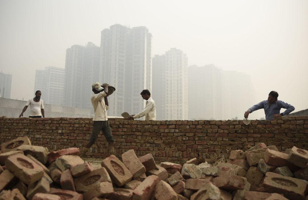 印度新德里的建築工人
