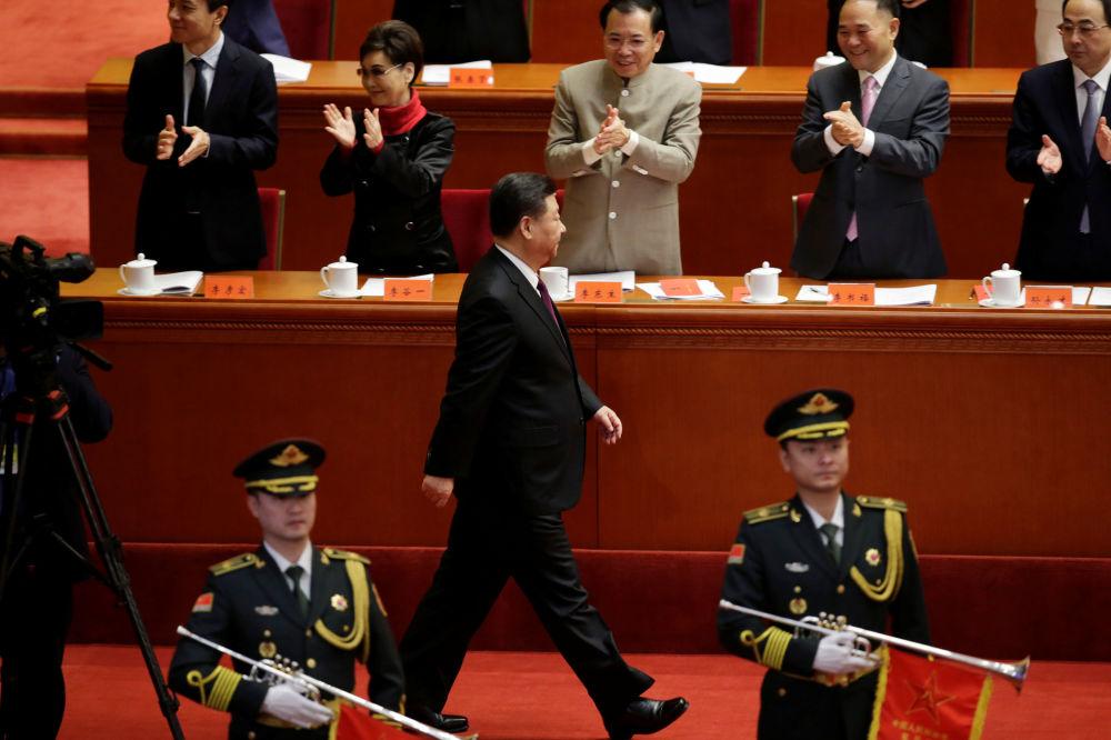 中國國家主席習近平在人民大會堂舉行的慶祝改革開放40週年大會上。