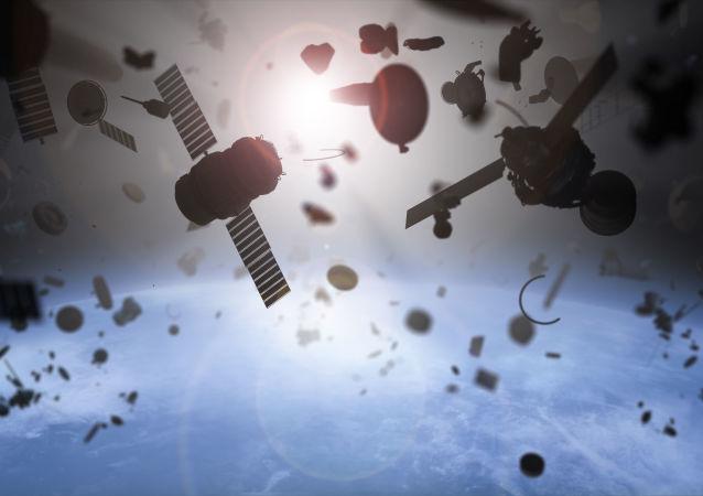 俄航天集團展示帶有清理太空垃圾網的衛星外貌