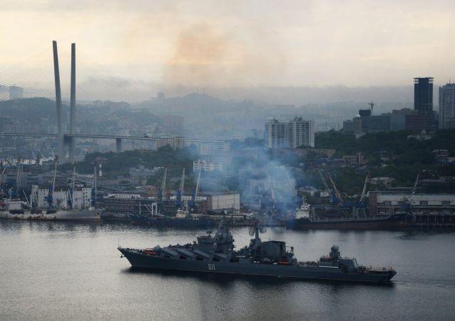 「瓦良格」號巡洋艦在黃海俄中演習後返回符拉迪沃斯托克