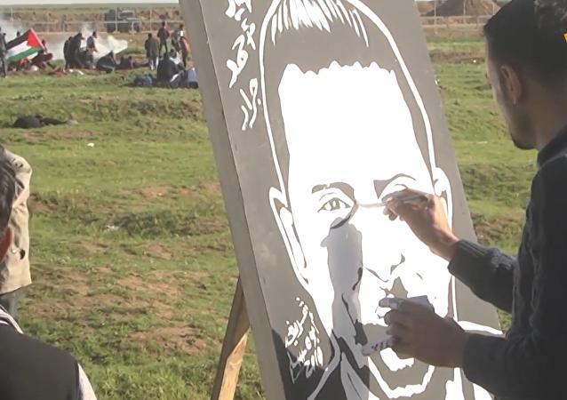 巴勒斯坦畫家邊境區作畫以聲援鬥爭