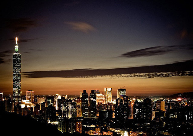 Рассвет в Тайване. Городской пейзаж