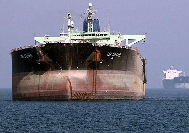 An oil tanker is seen off the port of Bandar Abbas, southern Iran